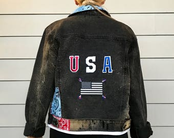 Patriotic Patchwork Denim Jacket
