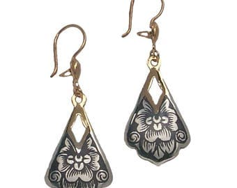 sterling silver earrings with blackened