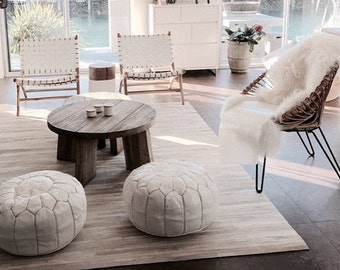 MOROCCAN POUF set of 2 LEATHER ottoman white pouf footstool cover stuning