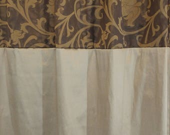 Elegant Fabric Shower Curtain in Shades of Brown and Gold | LuX | Venice