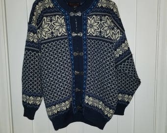 Rare Blue Norwool Norwegian Wool Sweater