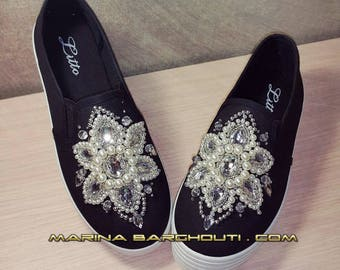 Crystal-embellished sneakers/ slip-on shoes