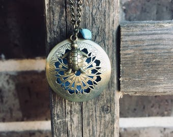 Antique Bronze Essential Oil Diffuser Necklace with Turtle and Blue Turquoise