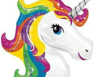 Rainbow Unicorn Head Balloon