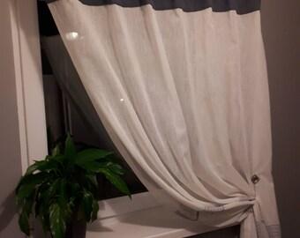 Withe/cream semi-transparent Voile Curtain Black/blue  top