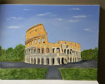 Oil Painting Original, Landscape, On Stretched Canvas, Colosseum in Oil