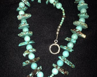 Handmade Southwestern Turquoise Beaded Necklace