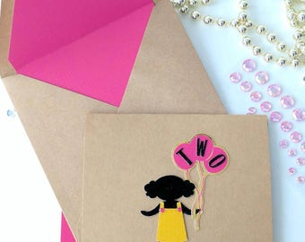 Toddler with Girly Pigtail Puffs and Balloons - Handmade Birthday Card