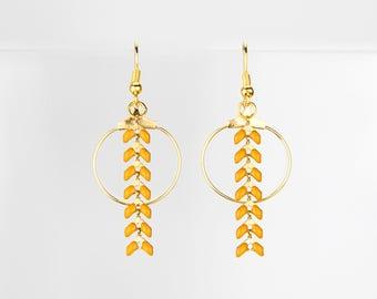 Earrings rings gold mustard yellow chevron #1218
