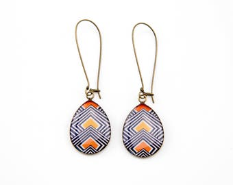 Orange yellow white blue striped earrings #1383