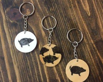 Pig Wood Keychains
