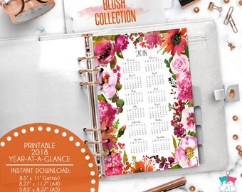 Printable Calendar A5 A4 Letter Watercolor Planners 2018 Year at a Glance | Blush Floral Collection | BCYG18
