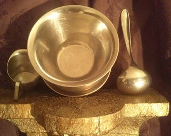 Vintage Danish 18-8 stainless steel Spoon, Bowl, Creamer.