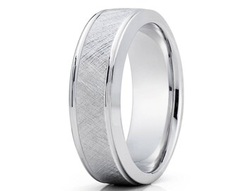White Gold Wedding Band Unique Brush White Gold Wedding Band Men & Women 14k White Gold Wedding Ring Anniversary Men's