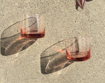 Peachy-pink Whiskey Tumblers with heavy glass bottom, set of Two