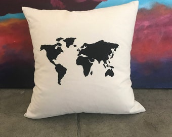 World Map Embroidered Pillow
