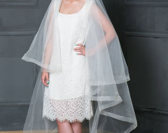 Ivory Horsehair Veil,  Horsehair Trim Veil,Cathedral Horsehair veil,Horsehair Chapel veil , Ivory fingertip veil, Cathedral veil,
