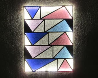 Stained Glass LED Lamp No.02. Geometric Wall Art. LED Light Wall Art. Geometric Stained Glass. LED Wall Lamp. Abstract Stained Glass Art.