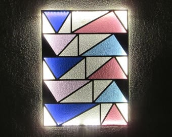 Stained Glass LED Lamp No.02. Geometric Wall Art. Stained Glass Panel. Stained Glass Art. LED Lights Wall Lamp. Contemporary Wall Lamp.