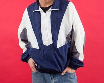 Geometric, Vaporwave, 90s Windbreaker, Navy Blue, White, Gray, Nylon Jacket, Spring Jacket, Athletic, Running, Workout, 90s, Pullover, XL