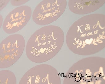 "Foil Wedding Stickers, Blush Wedding Stickers, Rose Gold Favour Stickers, Round Labels, Custom Wedding Stickers, Personalised 25mm / 1"" D7"
