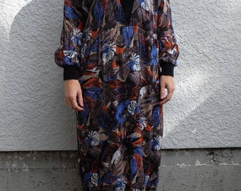 1980's Floral Print Dress