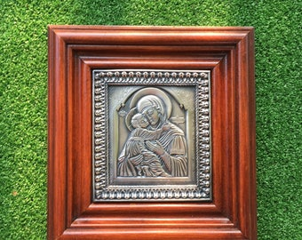 Icon Mother of Jesus - Made with Copper and Silvered and set into a Wooden Frame - Mary - Recycled Metals - Theotokos - God-bearer