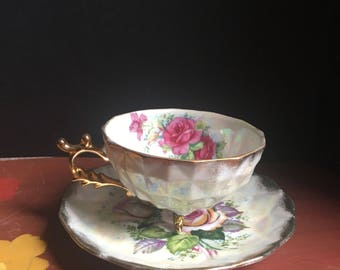 Ries, Lusterware, Gold Gilt, Tea Cup Set, 1950s