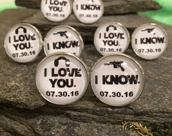 I love you, I know Cufflinks, Star Wars Cufflinks, Star Wars Tie Clips, Star Wars Tie Bars,Star Wars Cuff Links, Star Wars Lapel Pin