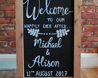 Bespoke Hand Drawn Personalised 'Welcome' Wedding Chalkboard A-Frame Sign | For Wedding or Party | Wedding Signs