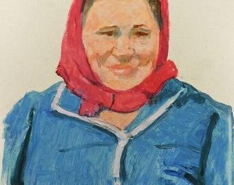 VINTAGE FEMALE PORTRAIT Original Oil Painting by Soviet Ukrainian artist V.Kolesnik 1970, Woman's Portrait, Socialist Realism, One of a kind
