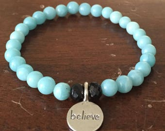 Amazonite and Onyx Stretch Bracelet with Sterling Silver Believe Charm
