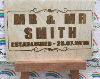 Mr & Mr - Wedding Celebration - Wooden A5 Sign/Plaque