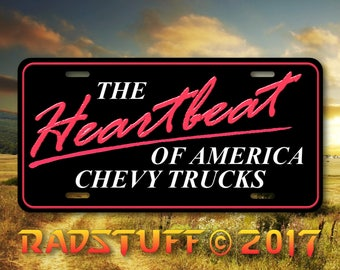 "Chevy Chevrolet The Heartbeat of America Novelty License Plate Aluminum 6""x12"""