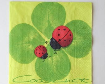 "2 ""clover and Ladybug"" paper napkins"