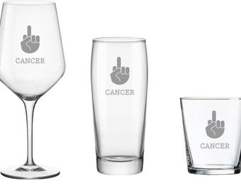 F#@% CANCER Wine, Beer, or Rocks Glass, Get Well Gift, Inspirational Gift