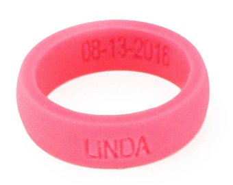 Personalized Silicone Ring PINK Anniversary Gift Premium Silicone Wedding Rings 5.5mm Wide (2mm Thick) Custom Wedding Ring Bands Rubber