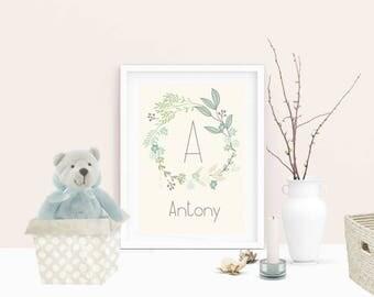 Greenery Nursery Initial Printable, Initial Print, Nursery Print, Nursery Wall Art, New Born Gift, Kids Wall Art, Room Decor, Nursery Poster