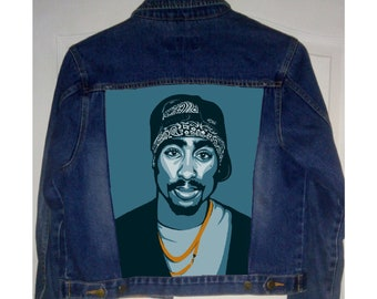 Hand painted denim jacket 2pac, 2pac jacket, custom 2pac, 2 pac painting, 2 pac portrait, Tupac jacket, denim jacket, hand painted jacket