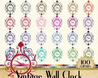 100 Vintage Wall Clock Clipart, Vintage Clock Clipart, 100 PNG Clipart, Planner Clipart, Instant Download Clipart, European Clipart