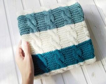 Knitted Baby blanket newborn Blanket baby boy blanket wool baby blanket