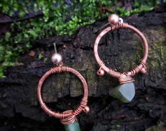 Copper and Jade Earrings