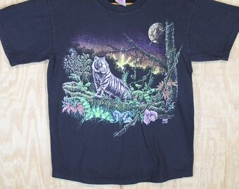 Vintage 1990's 1993 Gardner 10 Hidden Tigers Cotton Stand Out Label T Shirt T-Shirt Tee Large  L  -  XL