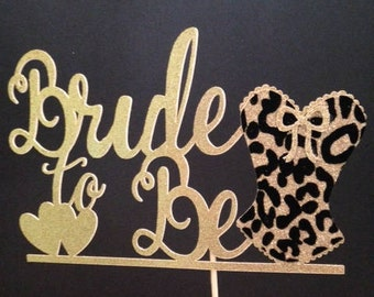 Bride-to-Be Cake Topper in LEOPARD-print or Solid Glitter!