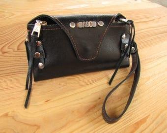 Wallet initials Leather wallet  Monogram wallet Long wallet  Monogram clutch Biker wallet chainLeather purse  Personalized wallet  Wallet.