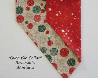 Snow Dots meets Christmas Stars, Over the Collar Pet Bandana, Slide on Bandana, Reversible Bandana, Dog Bandana, Cat Bandana