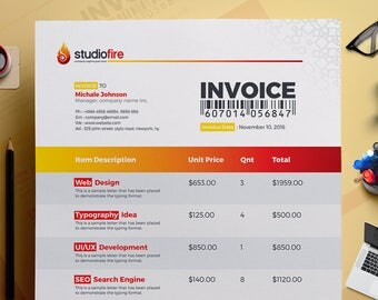Billing Invoice Etsy - Psd invoice template