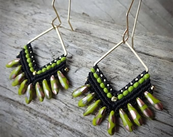 macrame earrings, beaded earrings, czech glass beads, gold plated beads, brass square, black, olivine color