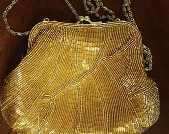 La Regale Gold Beaded Purse