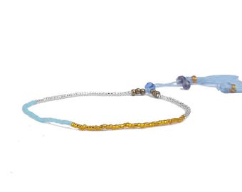 Bracelet with Japanese beads and blue tassel, gold and gray